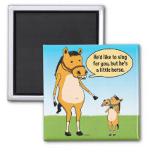 Funny Big Horse and Little Horse Fridge Magnet