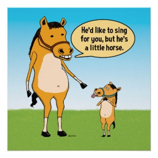 Funny Big Horse and Little Horse Poster