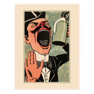 Funny big mouth vintage beer drinking cartoon postcard