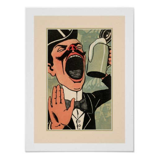 Funny Big Mouth Vintage Beer Drinking Cartoon Poster Zazzle