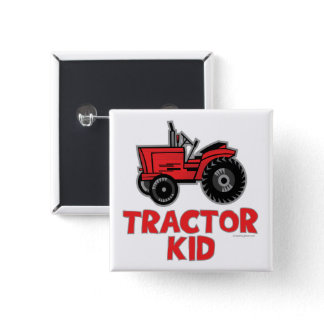 Funny Big Red Tractor Kid Pinback Button