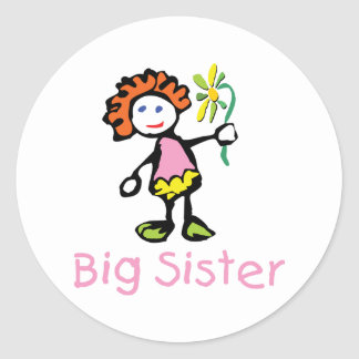 Funny Big Sister Classic Round Sticker