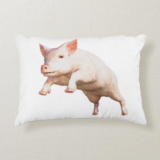 Funny big young  pig jumping high decorative pillow