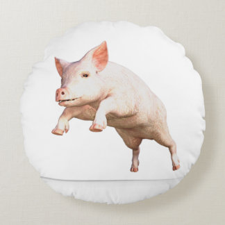 Funny big young  pig jumping high round pillow