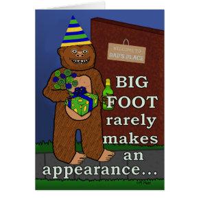 Funny Fathers Day Bigfoot Yeti Humorous Dad Pun Card