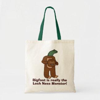 Funny Bigfoot Loch Ness Monster Tote Bag