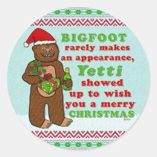 Merry Christmas Puns.Funny Bigfoot Merry Christmas Sasquatch Pun Classic Round Sticker