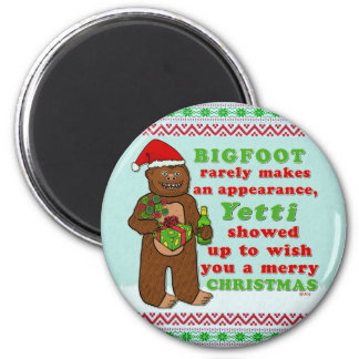 Funny Bigfoot Merry Christmas Sasquatch Pun Magnet
