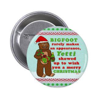 Funny Bigfoot Merry Christmas Sasquatch Pun Pinback Button