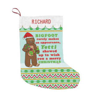 Funny Bigfoot Merry Christmas Sasquatch Pun Small Christmas Stocking