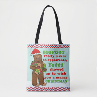 Funny Bigfoot Merry Christmas Sasquatch Pun Tote Bag