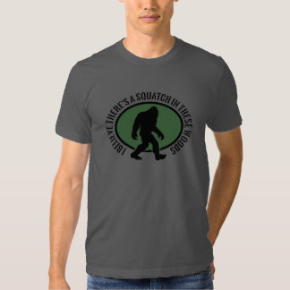 Funny Bigfoot Squatch In These Woods Oval Design Tees