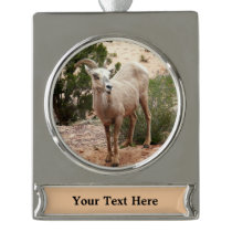 Funny Bighorn Sheep at Zion National Park Silver Plated Banner Ornament