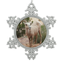 Funny Bighorn Sheep at Zion National Park Snowflake Pewter Christmas Ornament