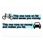 Funny Bike versus Car Post Cards