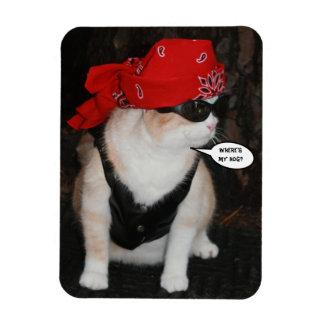 Funny Biker Cat/Kitty Rectangular Photo Magnet