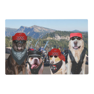 Funny Biker Dogs on a Mountain Top Laminated Place Mat