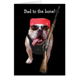 Funny Biker/Nonconformist Bull Dog Birthday Card