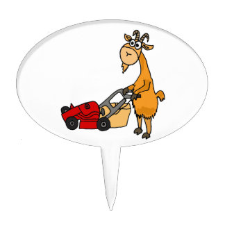 Funny Billy Goat Pushing Lawn Mower Cartoon Cake Toppers