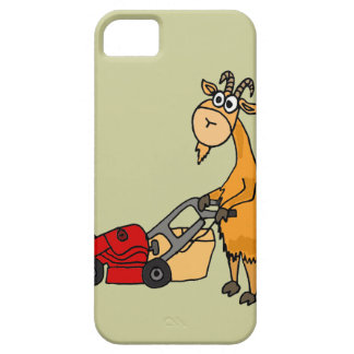 Funny Billy Goat Pushing Lawn Mower Cartoon iPhone 5 Cases
