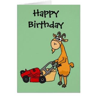 Funny Billy Goat Pushing Lawn Mower Cartoon Greeting Card