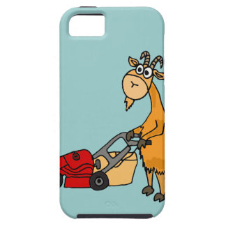 Funny Billy Goat Pushing Lawn Mower Cartoon iPhone SE/5/5s Case