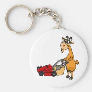 Funny Billy Goat Pushing Lawn Mower Cartoon Keychain