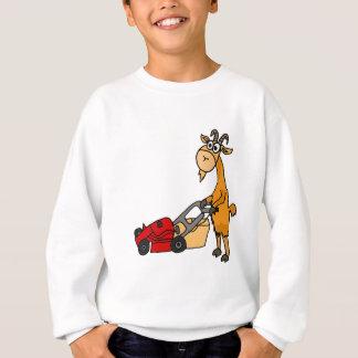 Funny Billy Goat Pushing Lawn Mower Cartoon Sweatshirt