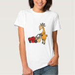Funny Billy Goat Pushing Lawn Mower Cartoon Tee Shirt