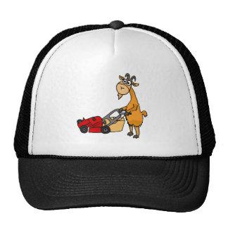 Funny Billy Goat Pushing Lawn Mower Cartoon Trucker Hat