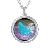 Funny Bird Art Rooster Chicken Silver Plated Necklace