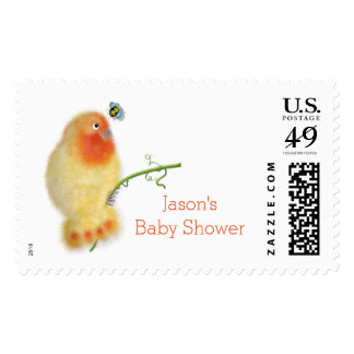 Funny bird Baby Shower stamp by BabyLaia
