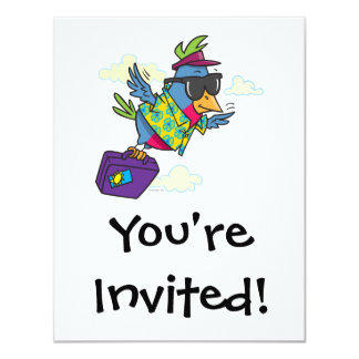 funny bird flying south vacation 4.25x5.5 paper invitation card