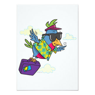 funny bird flying south vacation 5x7 paper invitation card