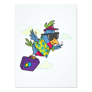 funny bird flying south vacation 6.5x8.75 paper invitation card