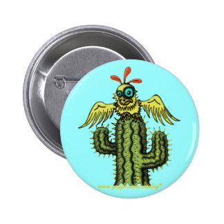 Funny bird on cactus button design