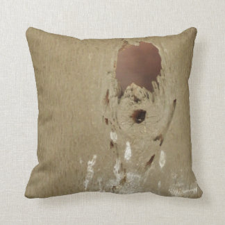 Funny Bird Poop Hole In Wood Throw Pillow