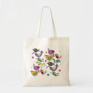 Funny birds budget tote bag