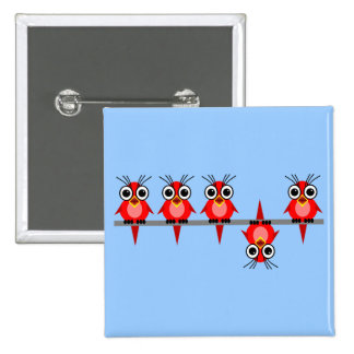 funny birds pinback buttons