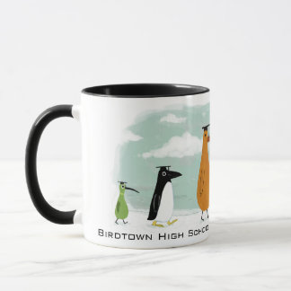 Funny Birds Graduation Procession with Custom Text Mug