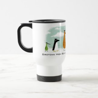 Funny Birds Graduation Procession with Custom Text Travel Mug
