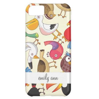 Funny Birds Illustrations Pattern Case For iPhone 5C