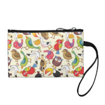 Funny Birds Illustrations Pattern Change Purse