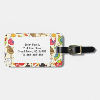 Funny Birds Illustrations Pattern Luggage Tag