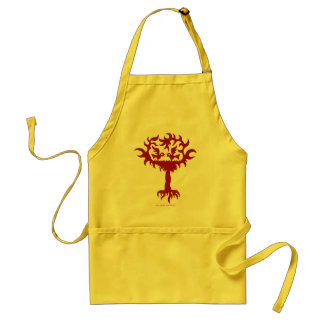Funny birds on tree drawing art apron design