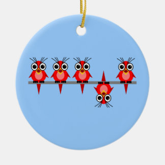 funny birds Double-Sided ceramic round christmas ornament