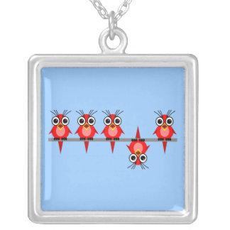 funny birds square pendant necklace