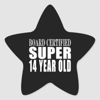 Funny Birthday B. Cert. Super Fourteen Year Old Star Sticker