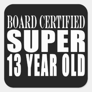 Funny Birthday B Cert Super Thirteen Year Old Square Stickers