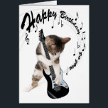 """Funny birthday card cat with guitar<br><div class=""""desc"""">Funny birthday card cat with guitar playing a happy birhtday to you song. Rock and Roll cat for the rock supporter</div>"""